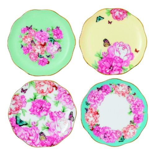 Royal Albert Blessings, Joy, Gratitude and Devotion Tidbit Plates Designed by Miranda Kerr, 3.9-Inch, Set of 4