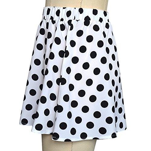 Imprim Robe Dot Taille Jupe Casual Femme Sunenjoy Blanc Haute t Filles Party Cocktail Mini Mode Jupe qtw4qIX