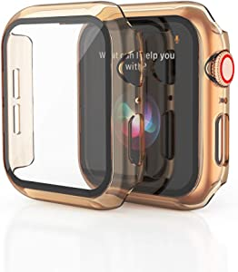KEYSJEFF Watch Case Compatible with Apple Watch Cover Case with Glass Screen Protector All Around Hard PC Case Protective Cover for Iwatch SE/6/5/4/3 KJ81018US (40mm,#2)