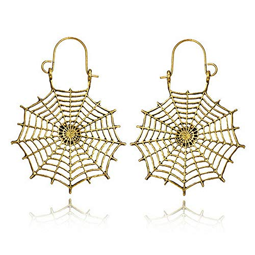 (Tomikko 1 Pair Vintage Boho Geometric Spider Mesh Dangle Ear Hoop Earrings Jewelry | Model ERRNGS - 7881 |)