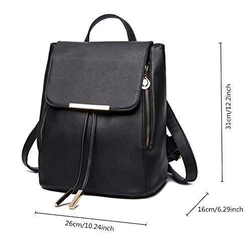 WINK KANGAROO Fashion Shoulder Bag Rucksack PU Leather Women Girls Ladies Backpack Travel bag (Black) by WINK KANGAROO (Image #1)