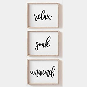 MoharWall Relax Soak Unwind Wall Art Bathroom Quotes Prints Spa Wall Poster Mural Décor