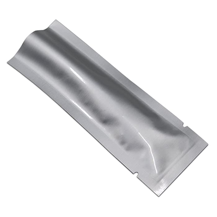 100 Pcs Vacuum Heat Sealable Mylar Pure Foil Bag Pouch for Sampling Packaging Food Storage Food Safe Aluminum Foil Smell Proof Package Baggie with Tear Notches (1.57x4.33 inch)