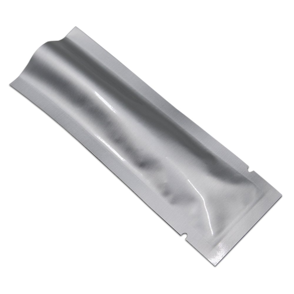100 Pcs 3.15mil Mylar Pure Aluminum Foil Multi-Purpose Bags 1.97x4.72 inch Jewellery Heat Sealable Open Top Pouch With Tear Notches Jerky Coffee Food Grade Storage Packet