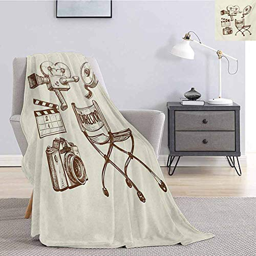 Luoiaax Movie Theater Plush Throw Blanket for Couch Photography and Cinema Vintage Set in Sketch Art Style Director Shooting Lightweight Life Comfort Blanket W54 x L72 Inch Beige Brown