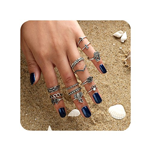 Cyntan Midi Ring Set Of Stacking Ring Silver Tone Knuckle Rings (Novelty Rings)