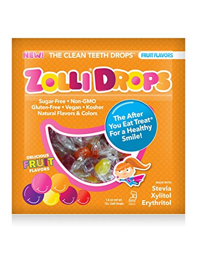 Zolli Drops By Zollipops, Delicious Assorted Flavors, Clean Teeth Drops, Anti Cavity Fruit Drops, 15 Count (Lollipop Free Sugar)