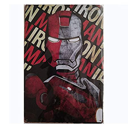 MARQUISE & LOREAN 🥇 Placas Decorativas Pared Marvel ✔️ Deadpool | Ironman | Thor | Decoración Carteles Vintage Metálicos 👆 MIRA 👆 (Ironman, 20 x 30 ...