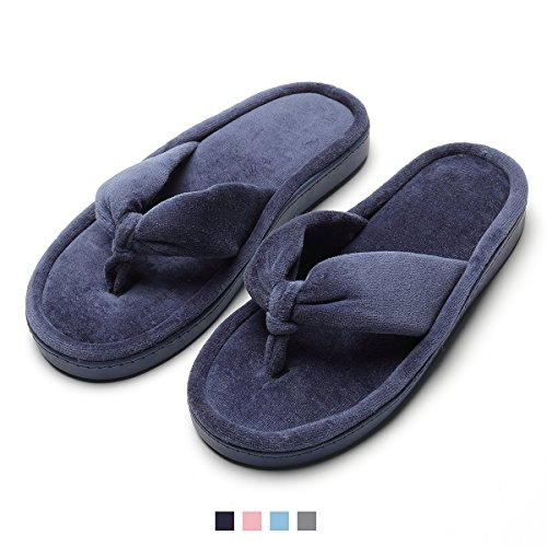 Navy Slippers Flip Foam Women's Cozy Blue Indoor Spa Memory Slip Flops Thong Anti Velvet House HwZxOA