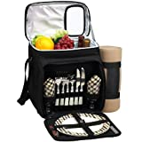 Picnic at Ascot Insulated Picnic Basket/Cooler Fully Equipped for 2 with Blanket – Black For Sale