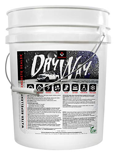 DryWay Water-Repellent Concrete Sealer - Penetrating Silane & Siloxane for Driveways, Garages, Patios, Pool Decks, Concrete, Brick & Pavers, Flat Finish, Interior/Exterior (5-Gallons)