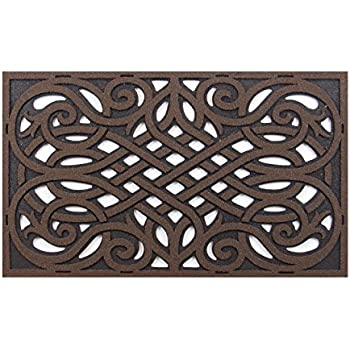 Charming CleanScrape Wrought Iron Door Mat, 18 Inch By 30 Inch, Coffee