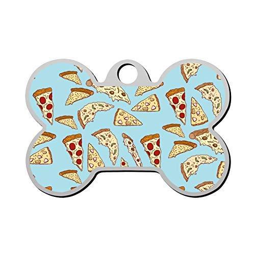 Hot Pizza Pet Id Tags Personalised Stainless Steel Double Sided for Dogs Cats Funny Idea -