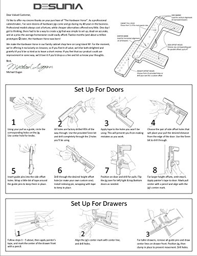 Hardware Horse Drill Jig – Furniture Handle Installation Template for Cabinet Knobs & Pulls – Alignment Guide for Doors & Drawers by Desunia (Image #8)