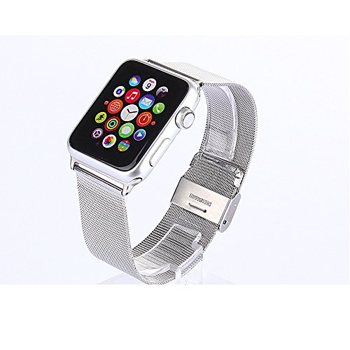 Emisoon High Quality Genuine Stainless Steel Metal Band for Apple Watch Include Replacement w/ Metal Clasp for Apple Watch (Mesh Sliver 42mm)