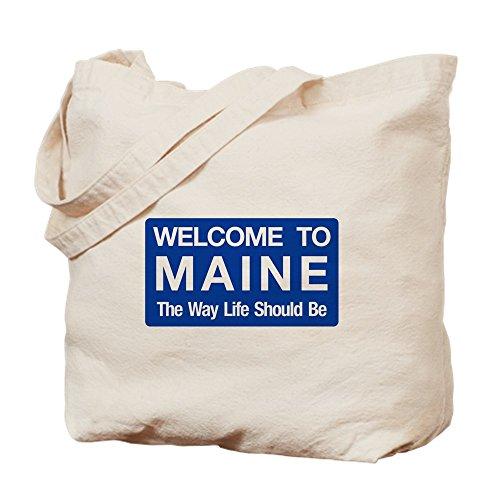 CafePress - Welcome To Maine - USA - Natural Canvas Tote Bag, Cloth Shopping - Shopping Maine Bangor