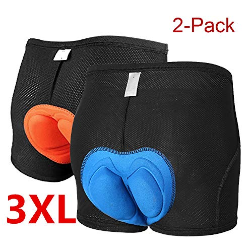3D Padded Bicycle Cycling Underwear Shorts Elastic Anti-Slip Breathable Comfortable Lightweight MTB Bike Underpant Gel Unisex Blue and Orange(Set of 2) (3X-Large(40-42