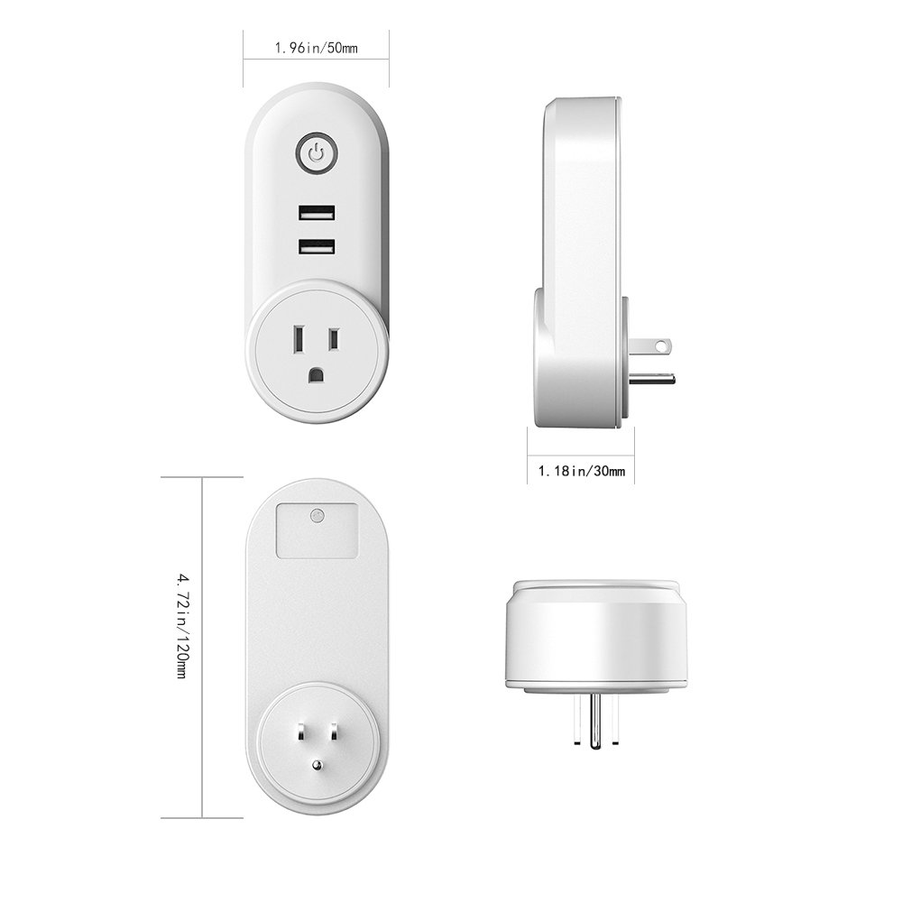 Smart Plug Alexa Wireless Wifi Mini Outlet with 2 USB Port,Timing Function with LED Power Light,Remote Control by your Smartphone,Voice Control Amazon Alexa Echo and Google Home for Household Applianc