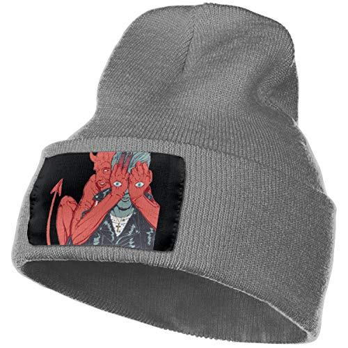 SmallHan Mens & Womens Queens Of The Stone Age Villains Skull Beanie Hats Winter Knitted Caps Soft Warm Ski Hat Deep Heather