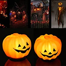 Rumfo 2 Pack Halloween Pumpkin Jack-O-Lantern Orange LED Light Festival Home Prop Decor for Halloween Christmas Party Decorations - Battery Operated