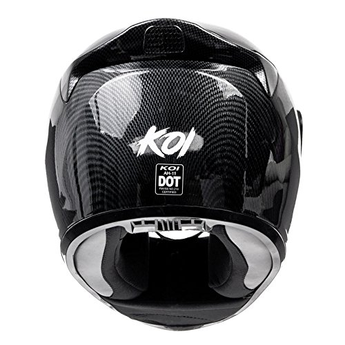 Amazon.com: KOI DOT Motorcycle Helmet Full Face KOI Gloss Carbon Fiber w/ Clear Visor - Medium: Automotive