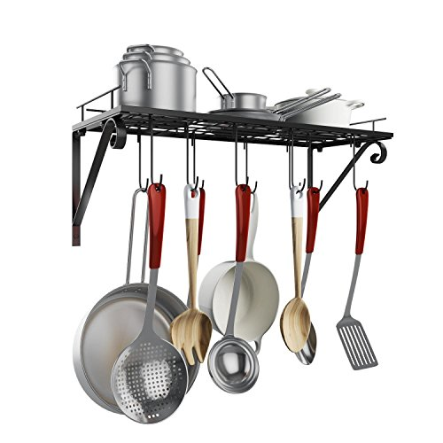 Leoneva Home Kitchen Wall Pot Pan Rack, Wall Mounted Storage Hanging Rack With 10 Hooks Black Multipurpose Wrought-Iron shelf Organizer for kitchen Cookware Pot Pan Cooking Utensils. (Black 2) by Leoneva