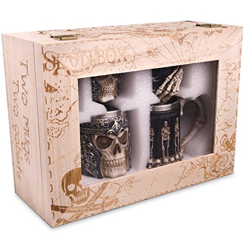 Skull Stein And Goblet Set With Stainless Steel Lining In A Wood Crate- Decorative And Functional Beer Tankard or Coffee Mug & Wine Chalice - Set of 4 - Ideal Novelty Gothic Gift Idea - Medieval Decor ()