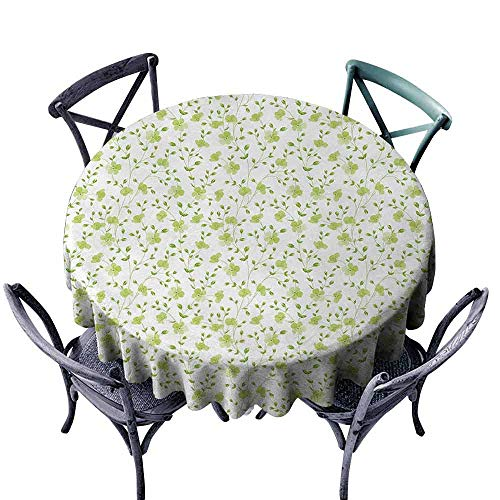 - duommhome Flower Dustproof Tablecloth Morning Garden Freshness Greenery Modern Old Fashioned Silhouette Artwork Great for Buffet Table D63 Pale Green White