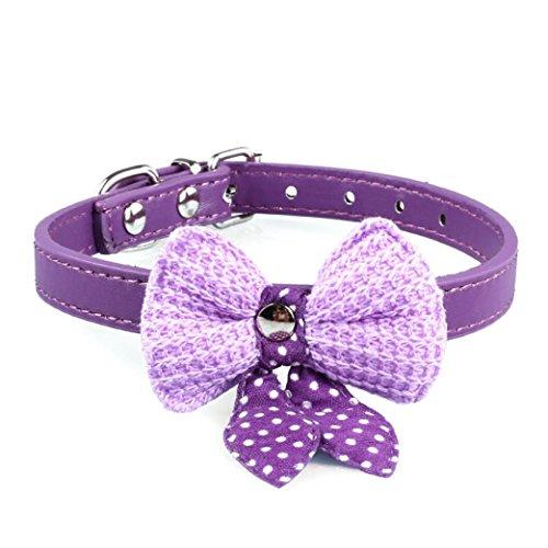 haoricu Pet Collars, Knit Bowknot Adjustable PU Leather Dog Puppy Necklace (Purple)