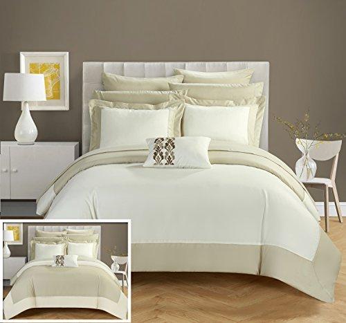 Chic Home CS0525-AN Peninsula 10 Piece Peninsula Comforter, Beige/Tan, Queen