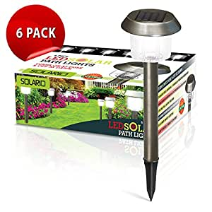 Brightest Stainless Steel Garden Solar Powered Stake Lights (Set of 6) | Weather Resistant | Wireless Outdoor Accent Light Kit | High Lumen LEDs | Best for Patio, Swimming Pool, Path & More (Bronze)