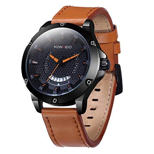 KOSSFER Multifunctional Electronic Mens Watch Waterproof Shockproof Quartz Sports Watch Brown