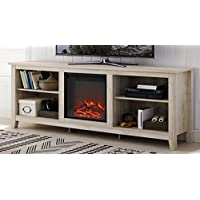 WE Furniture 70 Wood Media TV Stand Console with Fireplace - White Oak
