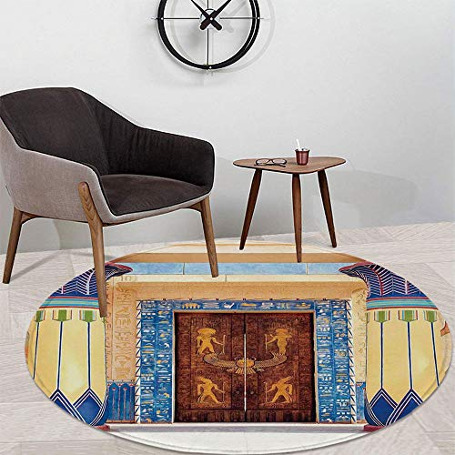 Egyptian Decor Polyester Round Carpet,Ancient Egyptian Temple with Carving and Pattern on Old Religious Heritage Artwork Print for Meeting Room Dining Room,47.24