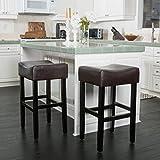 Great Deal Furniture (Set of 2) Adler Brown Leather Backless Bar Stool