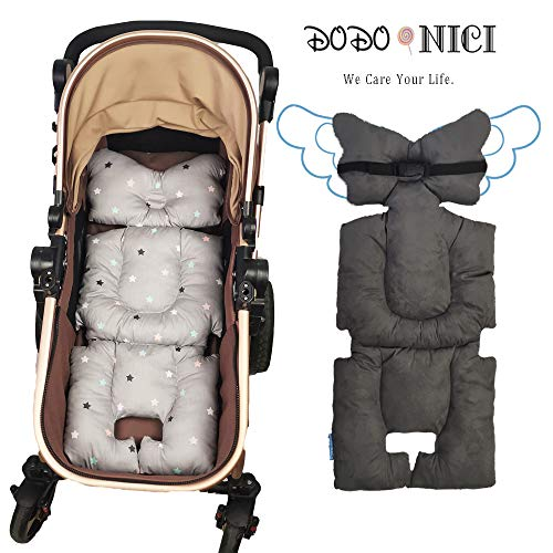 Stroller Liner Insert Car Seat Liner Cover, Infant Reversible Cotton Newborn Cushion pad Universal for Baby Carrier pram, Thick Padding, Non Slip, by DODO NICI Grey Color Star