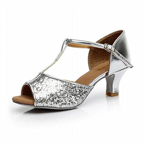 de Plata Sandalias de Modern Suave Paño Tobillo Talón 7cm Baile El Alto Onecolor BYLE Latino Social Cuero de Jazz Zapatos Adulto Zapatos Baile Samba Baile qEABcTTnw5