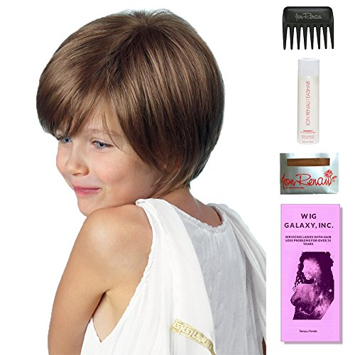 Logan (Childs Wig) by Amore, Wig Galaxy Hair Loss Booklet, 2oz Travel Size Wig Shampoo, Wig Cap, & Wide Tooth Comb (Bundle - 5 Items), Color Chosen: Medium Brown ()