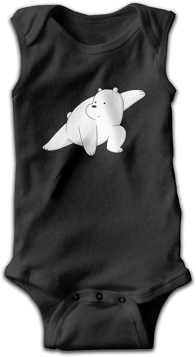 We Bare Bears Ice Bear Baby Newborn Crawling Suit Sleeveless Onesie Romper Jumpsuit Black