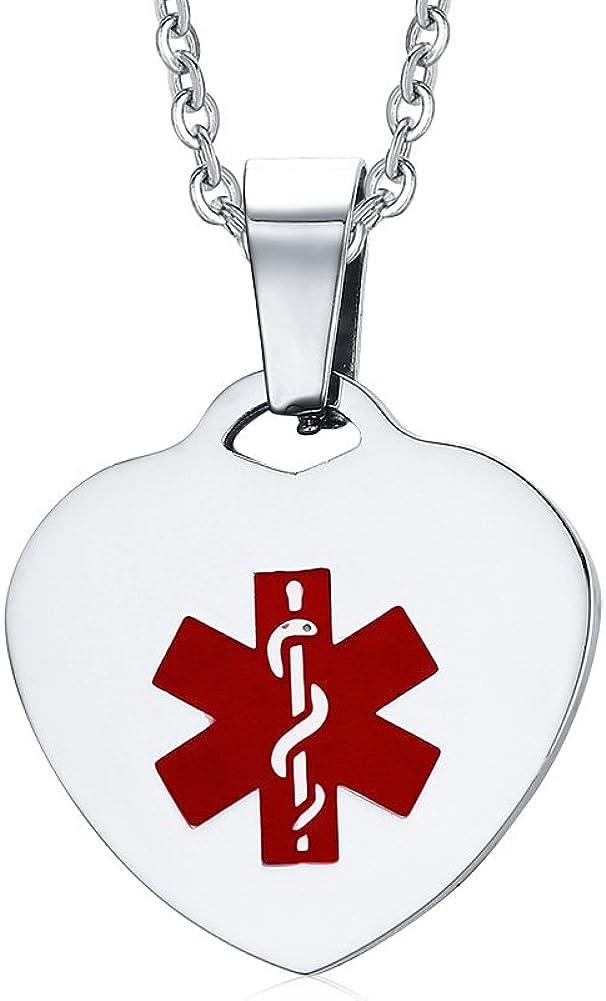 VNOX Collar Pendiente de la identificación de la identificación médica del corazón del Acero Inoxidable con la Cadena de Plata de la Calidad,Grabado Libre