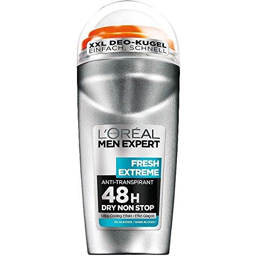 L'Oréal Men Expert Deodorant Fresh Extreme - Deo Roll-On Männer für 48h Deo-Schutz / mit Ultra-Cooling Effekt (dermatologisch getestet - alkoholfrei) 6 x 50 ml