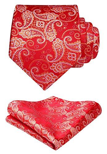 HISDERN Paisley Floral Tie Woven Classic Mens Necktie & Pocket Square Set