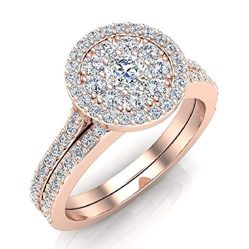 (0.88 ct tw Illusion Solitaire Diamond Wedding Ring Set 14K Rose Gold (Ring Size 5.5) )