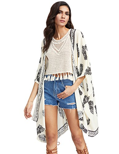 SweatyRocks Women Kimono Vintage Floral Beach Cover up (Large, Beige with Sleeves)