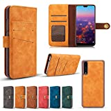 Scheam Huawei P20 Pro Case, [Portable Wallet ] [ Slim Fit ] Heavy Duty Protective Protection Flip Cover Wallet Case Compatible with Huawei P20 Pro - Yellow