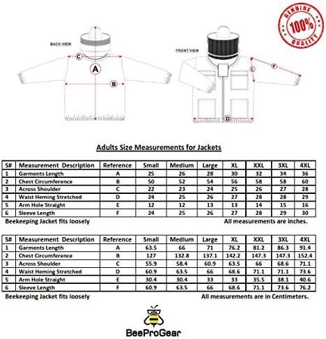 Giacca Apicoltura a Rete in Tessuto Bianco Unisex a 3 Strati di Sicurezza Velo Apicoltore Schermatura Abbigliamento Protettivo Jackets JFV Giacca Apicoltore Completamente Ultra ventilata