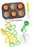 24-Piece Kids Baking Set by Boxiki Kitchen | Muffin Pan, 6 Silicone Cupcake Liners, 10 Cookie Cutters, Spatula, Egg Whisk, Mini Measuring Cup and 4 Measuring Spoons