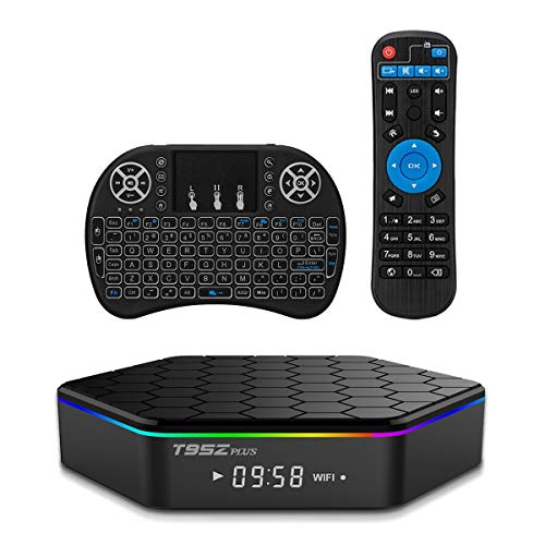 YAGALA T95Z Plus Android 7.1 TV Box Amlogic S912 Octa Core 3GB/32GB Dual Band WiFi 2.4GHz/5.0GHz 4K HD TV Box with Backlit Mini Wireless Keyboard
