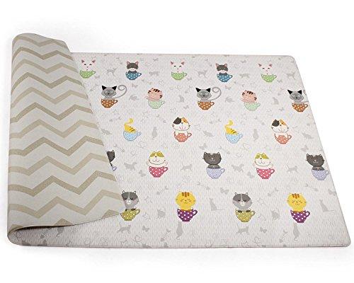 Babylynn baby play mat,kids play mat,infant play mat,foam mat,floor mat,play mat non toxic,play mat waterproof,large play mat,Creeping mat,playpen mat,activity mat, (L, Teacup Cat) by BABYLYNN