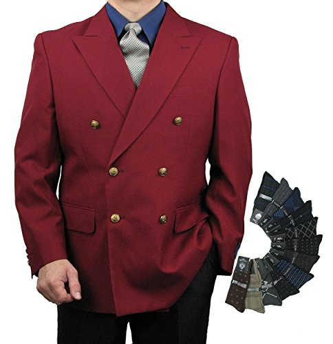 - Mens Classic Fit Double-Breasted Blazer w/1 Pair of Dress Socks - Burgundy 40L